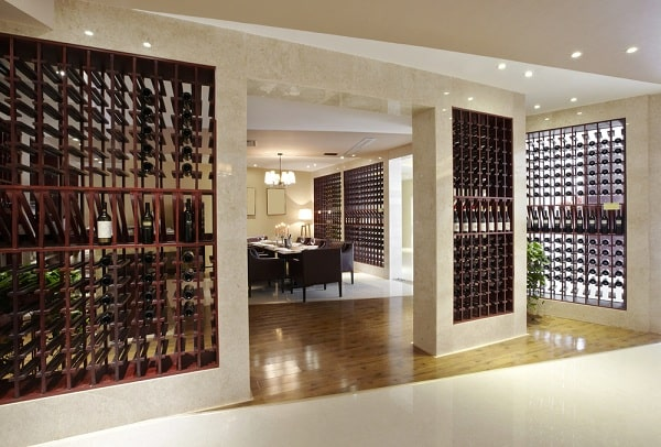 Dining room with wine rack